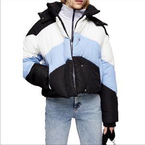 TOPSHOP Colorblock Puffer Jacket Black Multi 6